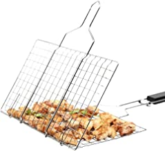 MMtong Barbecue Grilling Basket, Outdoor Portable Folding 430 Stainless Steel BBQ Barbecue Grill Basket for Fish, Vegetable, Beef Steaks, Shrimp with Removable Detachable Wooden Handle