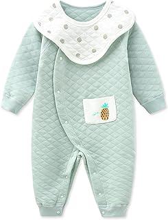 طفل بنين فتاة أزرار رومبر القطن الخالص ارتداءها قطعة واحدة بذلة مع مجموعة مريلة القابلة للإزالة (Color : Green, Size : 66CM)