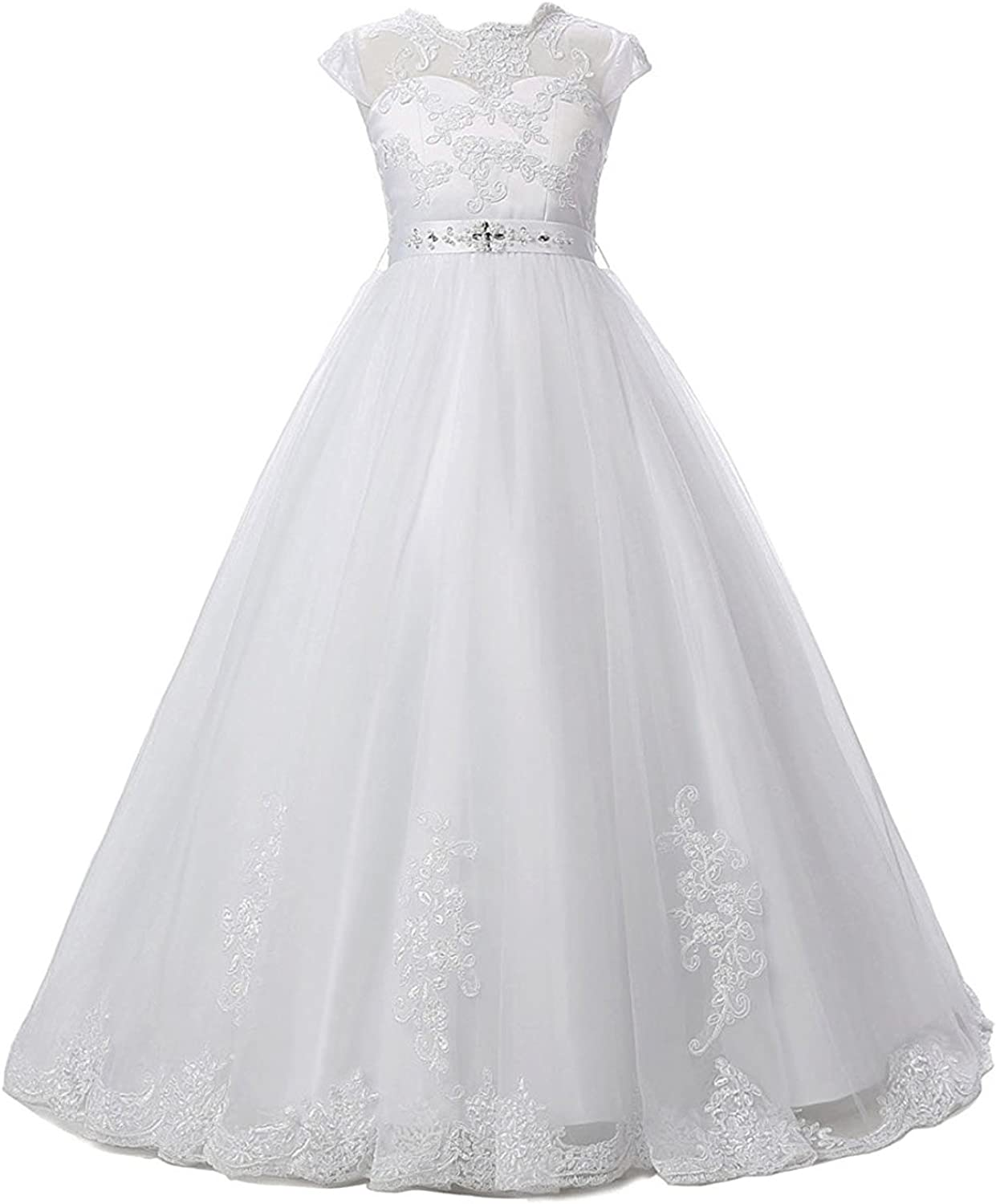 Sarahbridal Lace Tulle Beaded Princess Party Dress Flower Girls Wedding Dresses with Sleeve