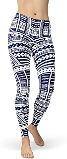 Maori Leggings for Women Mid Waist Womens Pants Polynesian Tattoo Pattern Print