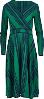 Handpicked by Birds Womens Calf Length Dresses Printed Faux Wrap Dress Striped