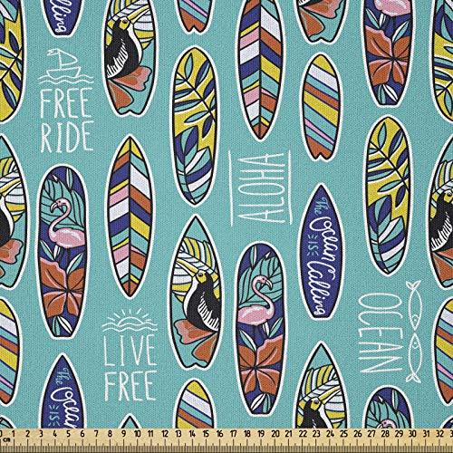 ABAKUHAUS Tabla De Surf Tela por Metro, Aloha Hawaii Ocean, Microfibra Decorativa para Artes y Manualidades, 1M (230x100cm), Multicolor