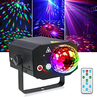Litake Party Lights + Disco Ball 2 in 1 Dj Disco Stage Lights LED Projector Strobe Light【Metal】, Sound Activated with Remo...