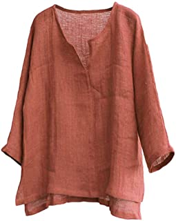 Linen Tops,Mens Brief Comfy Solid Color Long Sleeve T Shirt Loose Casual Blouse
