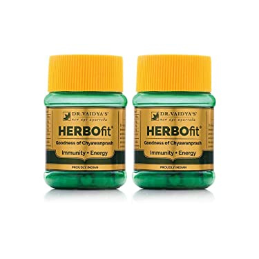Dr. Vaidya's New Age Ayurveda   Herbofit   Goodness of Chywanprash   Boost Resistance and Energy   30 Capsules Each (Pack of 2)