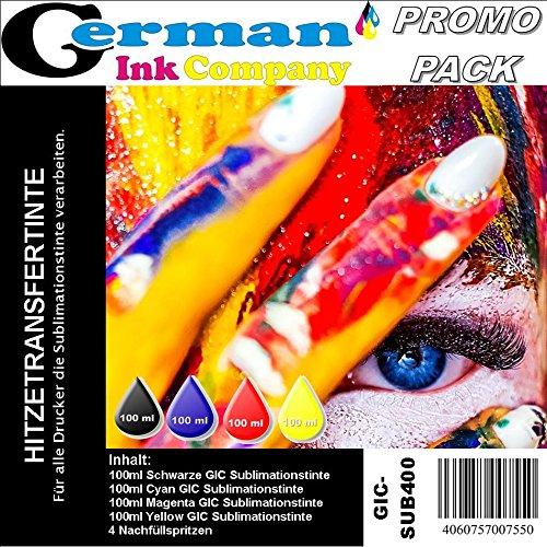400ml GIC - Hitzetransfertinte | Sublimationstinte Promopack - Farbe Black, Cyan, Magenta, Yellow
