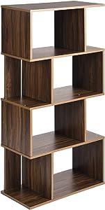 """Coavas Bibliothèque Forme S Géométrique Asymétrique Bibliothèque Moderne Contemporaine, 4 Niveaux, Noyer (49 """"x23.2"""")"""