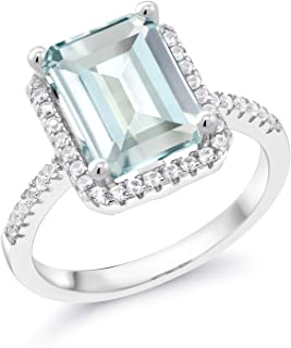 925 Sterling Silver Sky Blue Simulated Aquamarine Women's Ring (3.46 Cttw, Available in size 5, 6, 7, 8, 9)