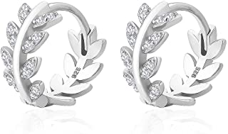 KRKC Huggie Hoop Earrings for Women, 925 Sterling Silver Hypoallergenic, Olive Leaf/Star Earrings with 5A CZ Stones for Girl, 18k Gold/White Gold Plated