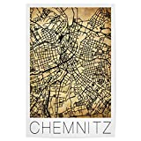 artboxONE Poster 150x100 cm Städte Retro map of Chemnitz