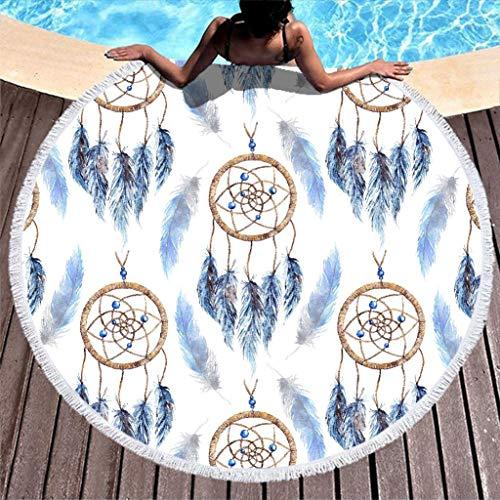 RNGIAN Toalla de Playa Redonda atrapasueños Manta de Playa para Piscina, natación, multifunción, tapetes Deportivos con borlas, poliéster, Blanco, 59 Inch
