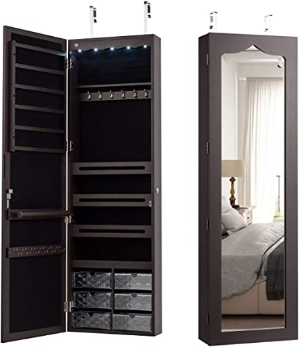 popular CHARMAID 5 LEDs Jewelry Armoire Wall Mounted/Door discount Hanging Mirror, Lockable Jewelry Cabinet with Full Length Mirror and 6 outlet sale Drawers, Large Capacity Jewelry Organizer Storage Box for Women Girls (Brown) sale