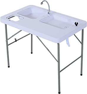 "Outsunny 40"" Portable Folding Easy-Clean Camping Table with Faucet and Dual Water Basins"