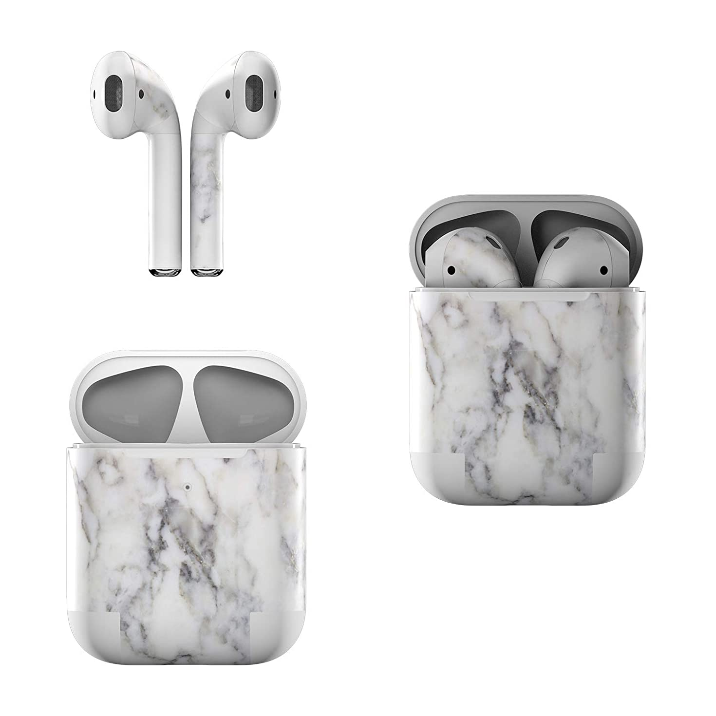 Skin Decals for Apple AirPods - White Marble - Sticker Wrap Fits 1st and 2nd Generation