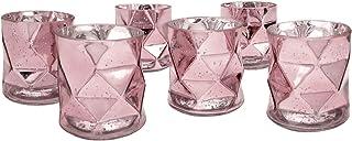 Koyal Wholesale Modern Geometric Votive Candle Holders (Pink)