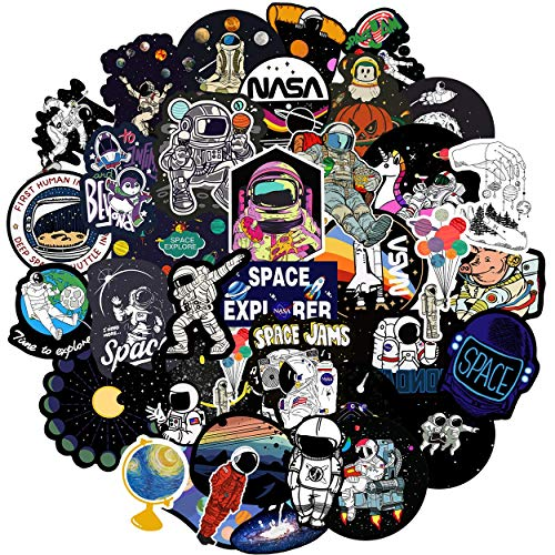 NASA Stickers for Water Bottles Space Boy Stickers Astronaut Personalized Computers Laptop Skins Waterproof Vinyl Decals for Hydro Flask Bike Guitar iPad,Best Gift for Kids Boys 50 Pack