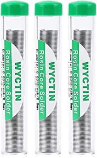 WYCTIN 60-40 Tin Lead Rosin Core Solder Wire for Electrical Soldering and DIY 0.8mm (0.032in), 3PC Tube Pack, 60g