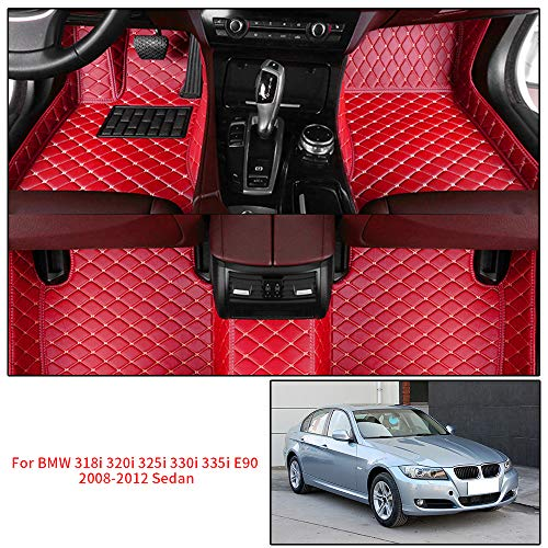 Alfombrillas Coche Personalizadas para B M W 318i 320i 325i 330i 335i E90 2008-2012 Sedan 3D Protección Alfombras Antideslizante de Cuero Accesorios Coche Rojo 1 Juego