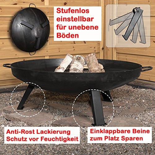 Köhko Feuerschale Ø 79 cm - Beine Anti-Rost lackiert - eintsellbare und abnehmbare Beine 41005