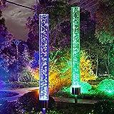 Vingtank Solar Gartenleuchte LED Solarlampe Garten Outdoor bunt Solar Steckleuchten Edelstahl 8 Stunden Akku Farbwechsel Gartenbeleuchtung