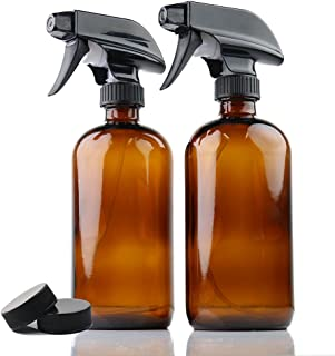Empty Amber Glass Spray Bottles | 2 Pack 16 Oz Refillable Sprayer for Essential Oil | Water, Kitchen, Bath, Beauty, Hair, Cleaning | Durable Trigger Sprayer with Mist & Stream Modes & 2 Storage Caps