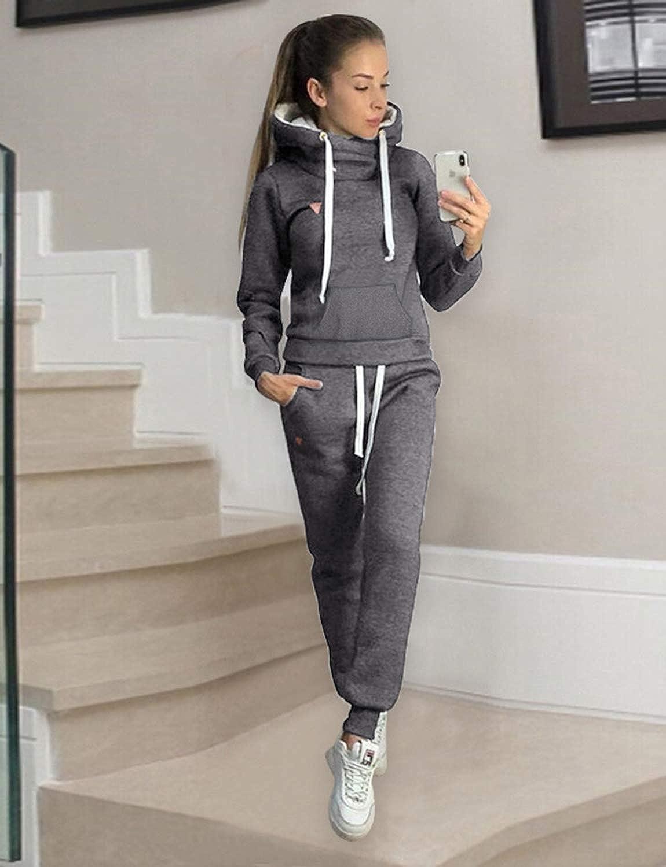 BUOYDM Surv/êtement Femmes Casual Ensembles Sportswear /À Manches Longues Sweat-Shirt Jogging Pantalon Sports pour Automne et Hiver