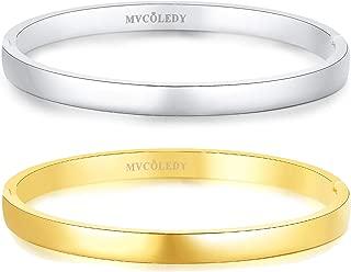Jewelry 18 K Gold/Rose Gold/White Bangle Bracelet Set High Polished Bangle Shiny Minimalist Stainless Steel Bangle for Women Size 7 Inches