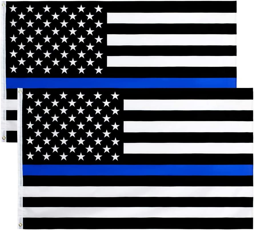 ANJOR Detroit Mall 3x5 Fts Thin Blue Line Flag Honoring Enforc - American Law OFFicial shop