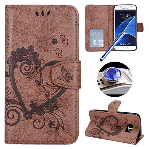 Etsue Custodia Samsung Galaxy S7 Per Uomo in Pelle Puro Marrone Creativo Retro Elegante Semplice Disegni Amore Love Heart Pattern Folio Flip Wallet Libro Book Leather Pu