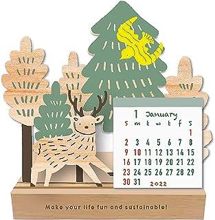 2022年 タカハタマサオ ウッドスタンド卓上カレンダー/シカと森 1000120237 vol.194