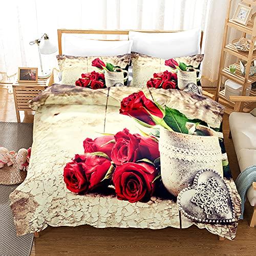 Zqylg Set di biancheria da letto con 3D rosa rossa floreale in poliestere e cotone, set per coppie, matrimonio, San Valentino, stile romantico, copripiumino (03,240 x 260)