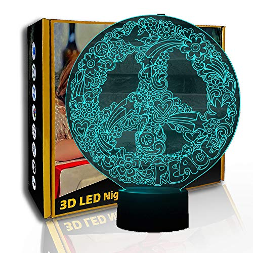 KangYD Luz de noche LED Art Peace Dove Sign Shape, lámpara de ilusión 3D, F- Base de audio Bluetooth (5 colores), Lámpara visual, Regalo de Navidad