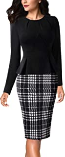 Womens Pleated Crew Neck Peplum Wear to Work Office Sheath Dress