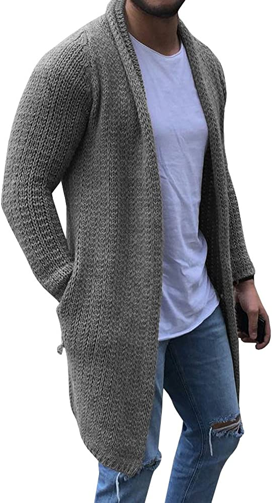 Mens Cardigan Sweaters Long Sleeve Knit Open Front Cardigans with Pocket