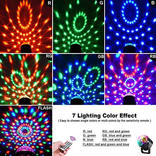 LED Discokugel Kinder OMERIL Discolicht Musikgesteuert Disco Lichteffekte RGB Partylicht, Zeitgesteuertes USB Stimmungslicht mit 7 Farben, 4 Helligkeiten und Fernbedienung für Kinder, Zimmer, Party - 4