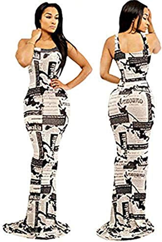 Gloshop Women's Popular Mermaid Bodycon Newspaper Print Maxi Dress