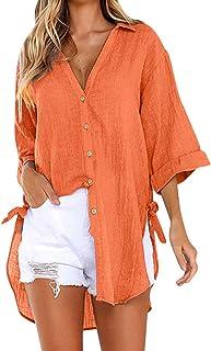Shusuen Women's V Neck Casual High Low Hem Blouse Button Down Linen Blouse Roll-Up Sleeve Tops Shirts