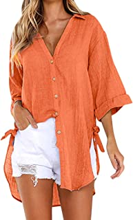 💯 Roll Up Long Sleeve Mid-Long Casual Boyfriend Shirts Women's New Half Sleeve High Low Loose Tunic Tops