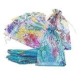 Bolsas de Organza, Bolsa de Gasa, Bolsitas Para Regalos, Coral Pattern Organza Bags, Bolsas para Joyas Bolsas Transparentes Dulces de Regalo, Wedding Favor Bags, 13*18CM, 40 Bolsas