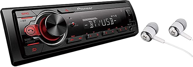 Pioneer In-Dash Built-In Bluetooth, Media Player Front USB Auxiliary, MP3, Pandora, Am/FM radio, Built In iPod, iPhone, and iPad Controls, Arc Phone App Car Stereo Receiver with Alphasonik Earbuds
