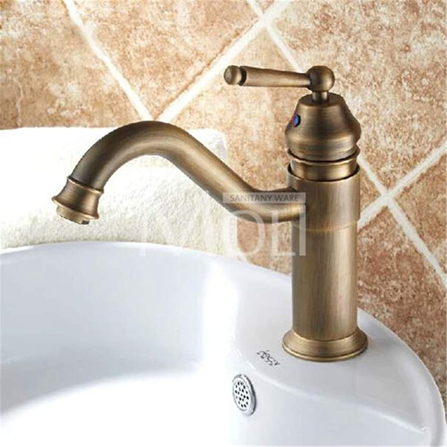 S-Senrohy Vintage Style Antique Faucet Tall Bathroom Faucets Brass Finish Washbasin Hot Cold Washbasin Bath Mixer Tap 5008A