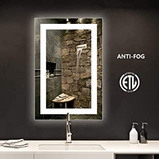 smartrun LED Bathroom Vanity Mirror with Anti-Fog Function, Bright White Light, CRI 90+, Backlit Mirror for Home Decoration(No Touch Button), 24x36inch