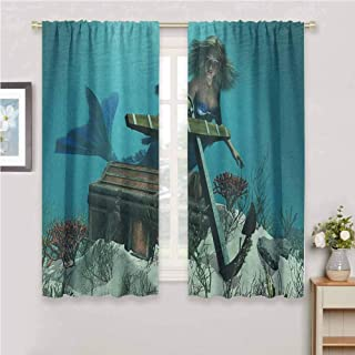 GUUVOR Mermaid Room Darkened Curtain Mermaid in Ocean Sea Discovering Pirates Treasure Chest Mythical Art Print Insulated Room Bedroom Darkened Curtains W84 x L84 Inch Azure Brown Cream