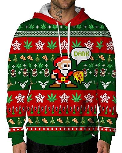 iHeartRaves Happy Ganja Weed Christmas Premium All Over Print Hoodie (X-Large)