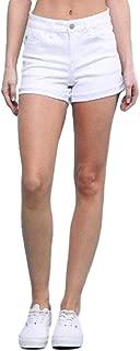 Judy Blue White Cuffed Raw Hem Women's Shorts
