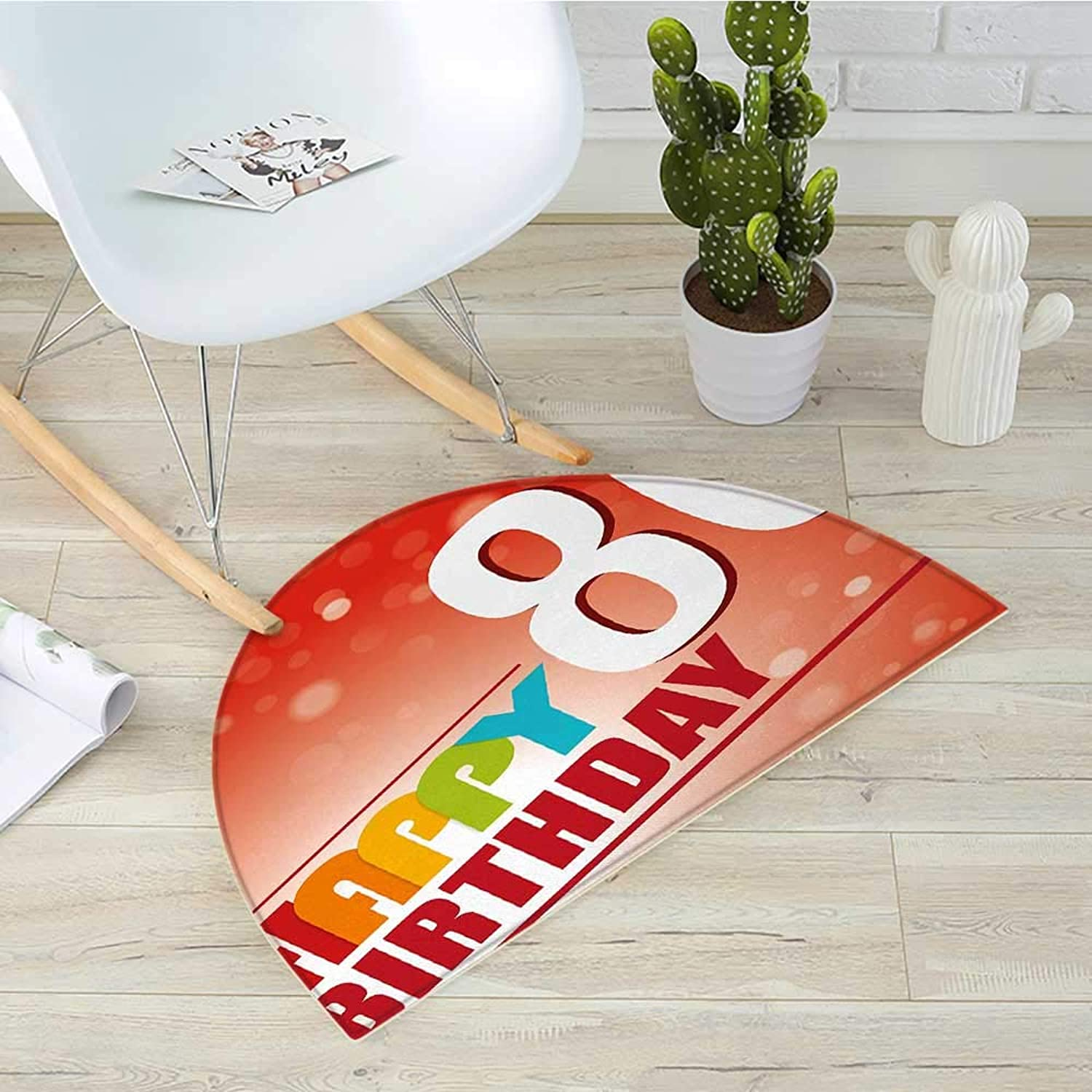 80th Birthday Semicircular Cushion80 Wise Age colorful Birthday Party with Abstract Background Entry Door Mat H 43.3  xD 64.9  Red Vermilion and White