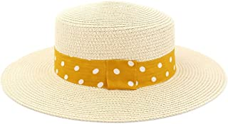 CHENDX High Quality Hat, Fashion Summer Ladies Men's Couple Straw Hat Outdoor Travel Sunscreen Straw Hat Solid Color Sun Hat Flat Jazz Hat (Color : Khaki, Size : 56-58CM)