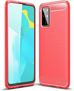UKDANDANWEI Case for Honor 30S, Carbon Fiber Texture Case Soft Lightweight TPU Back Cover for Honor 30S - Red