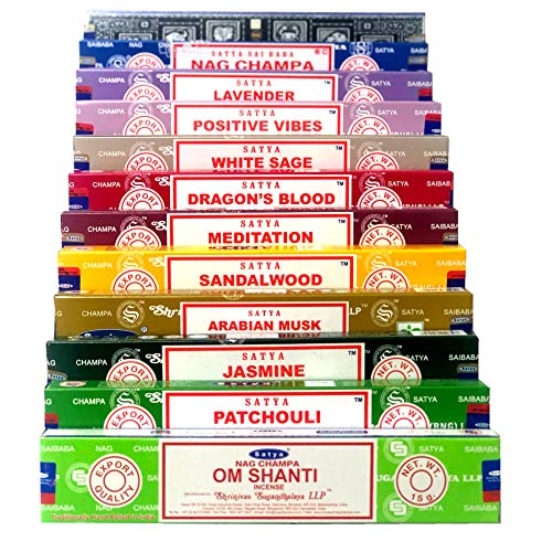 Satya Nag Champa Om Shanti encens set C 12x15g inclut: Nag Champa, Superhit, Om Shanti, Positive Vibes, Patchouli, White Sage, Sandalwood, Dragons Blood, Meditation, Jasmine, Lavender, Arabian Musk