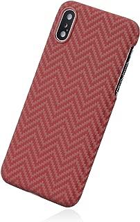 「PITAKA」Magcase iPhone Xs 対応 ケース スマホケース 軍用防弾チョッキ素材 アラミド繊維 超薄(0.65mm) 超軽量(14g) 5.8インチ 超頑丈 耐衝撃 高耐久性 スリム 薄型 ミニマリスト シンプル 高級なカーボン風 ワイヤレス充電対応 (赤/オレンジ M織)